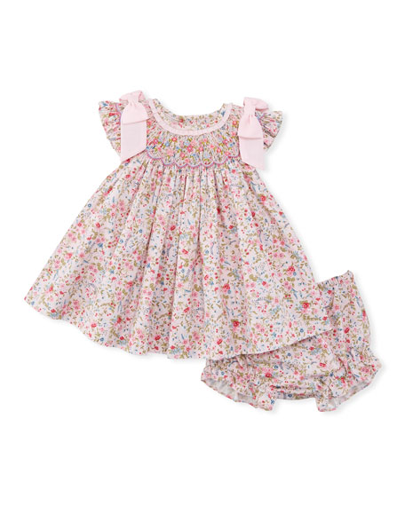 Floral-Print Smock Dress w/ Bloomers, Size Newborn-9M