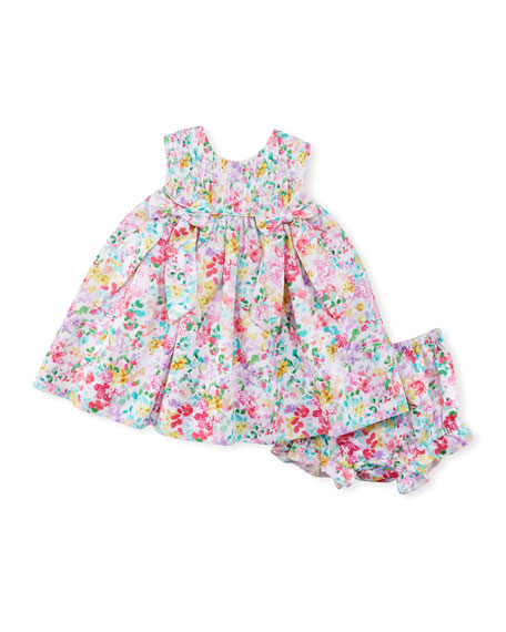 Floral-Print Sleeveless Dress w/ Bloomers, Size 9-24 Months
