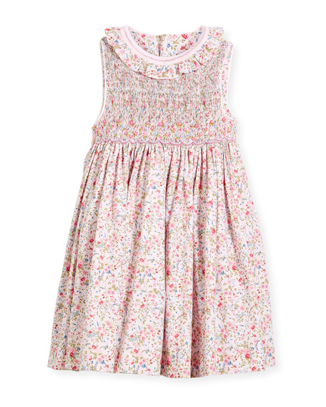 Luli & Me Floral Sleeveless Smock Dress, Size