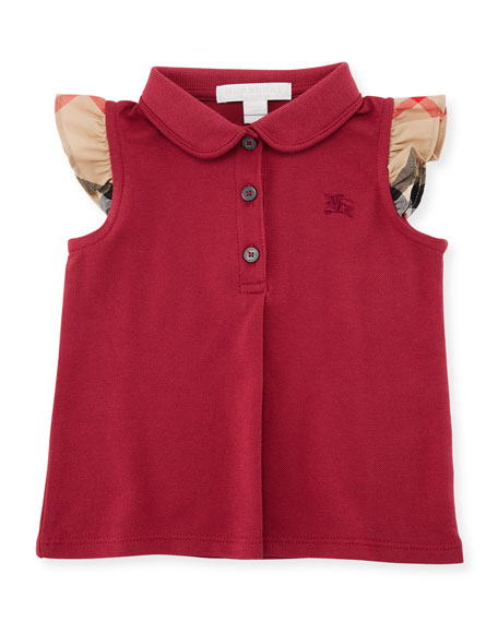 Burberry Tia Cotton-Stretch Polo Shirt w/ Ruffle Check