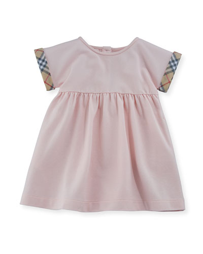 Jen Pique Dress w/ Check Cuffs, Size 3-24 Months