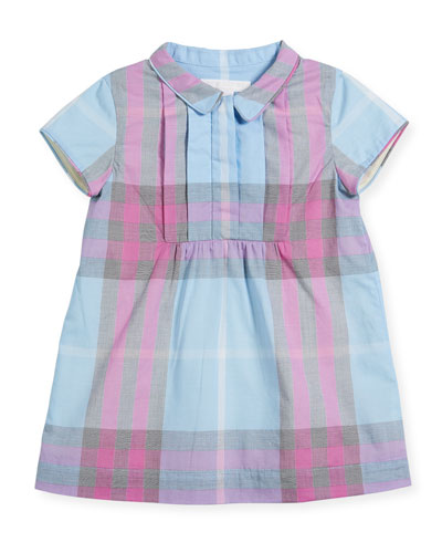 Taylor Pintucked A-Line Check Dress, Size 6M-3Y