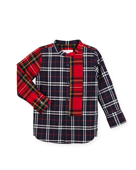 Burberry Arcus Mixed-Check Mandarin-Collar Shirt, Navy, Size 4-14