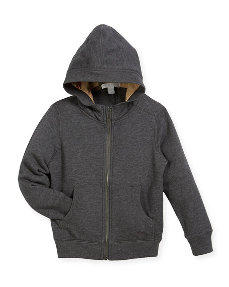 Burberry Pearcy Hooded Jersey Sweatshirt, Charcoal, Size 4-14
