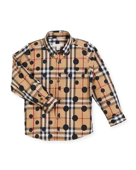 Fred Long-Sleeve Polka-Dot & Check Shirt, Size 4-14