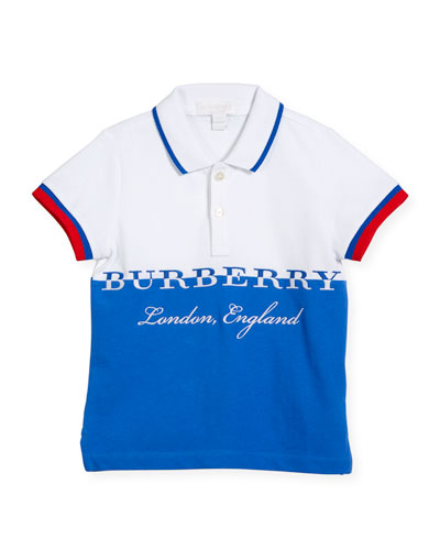 Daryll Colorblock Logo Polo Shirt, Blue, Size 4-14