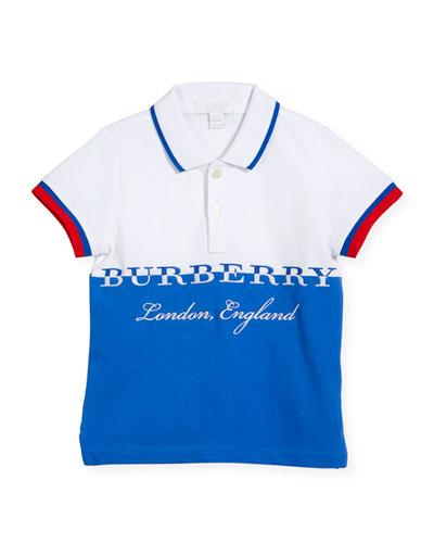 Daryll Colorblock Logo Polo Shirt, Blue, Size 4-14