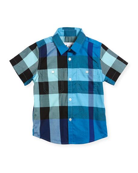 Burberry Mini Camber Short-Sleeve Check Shirt, Blue, Size