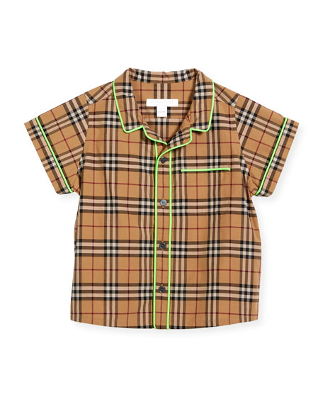 Burberry Carney Check Button-Down w/ Contrast Tipping, Beige,