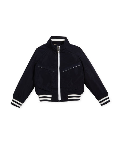 Jez Striped-Trim Bomber Jacket, Size 4-14