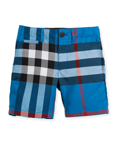 Burberry Tristen Check Lightweight Chino Shorts, Blue, Size