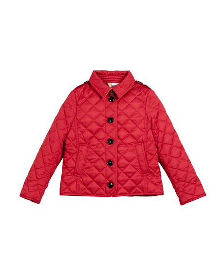 Burberry Ashurst Quilted Button-Front Jacket, Pink, Size 4-14