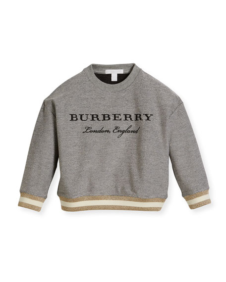 Burberry Eli Logo Sweatshirt w/ Metallic Hem, Gray,