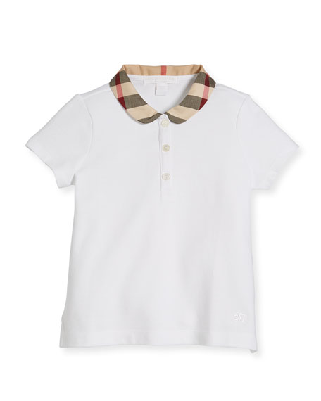 Burberry Cotton-Stretch Shirt w/ Check Peter Pan Collar,