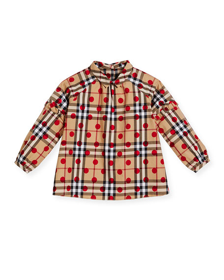 Burberry Haleena Check & Polka-Dot Long-Sleeve Blouse, Red,