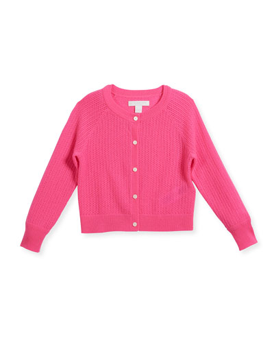 Flissey Cashmere Knit Cardigan, Pink, Size 4-14