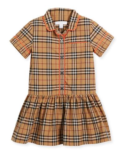 Melanie Check Dress w/ Contrast Tipping, Beige, Size 4-14
