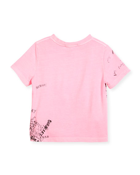 Rea Scribbles T-Shirt, Bright Pink, Size 4-14