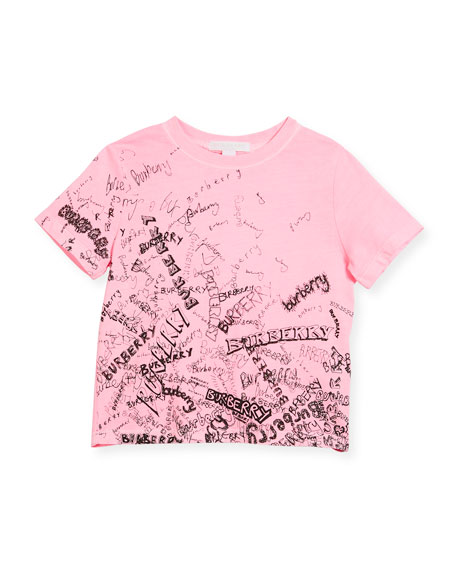 Burberry Rea Scribbles T-Shirt, Bright Pink, Size 4-14
