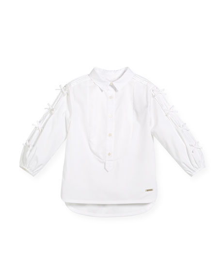 Burberry Beladine Collar Blouse w/ Pintucked Bow Sleeves,