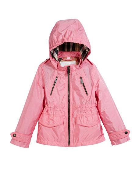 Halle Hooded Jacket, Peony, Size 4-14