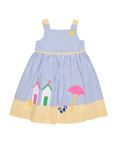 Florence Eiseman Beach Scene Seersucker Dress, Size 2-6X