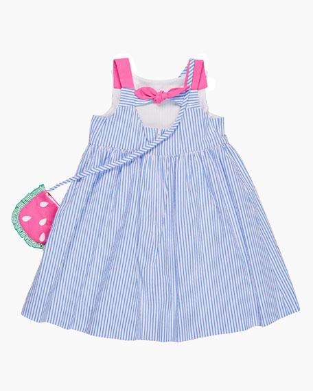 Seersucker Dress w/ Watermelon Pockets & Crossbody Bag, Size 2-6X