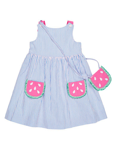 Seersucker Dress w/ Watermelon Pockets & Crossbody Bag, Size 2-6X