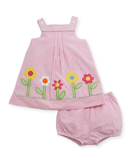 Florence Eiseman Striped Seersucker Flower-Border Dress w/