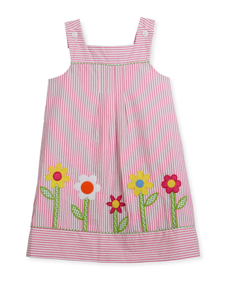Florence Eiseman Check Seersucker Flower-Border Dress w/