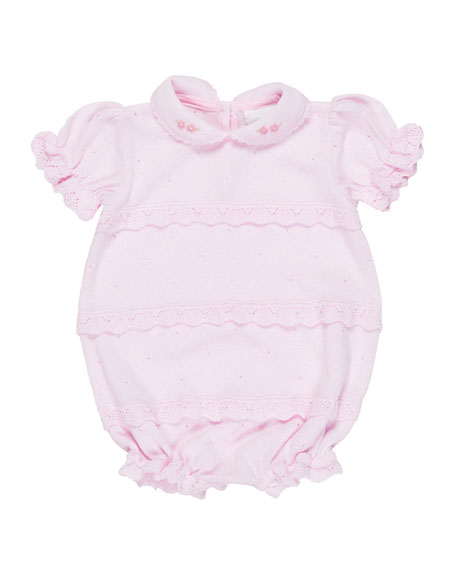 Florence Eiseman Knit Ruffle Playsuit w/ Flower Detail,