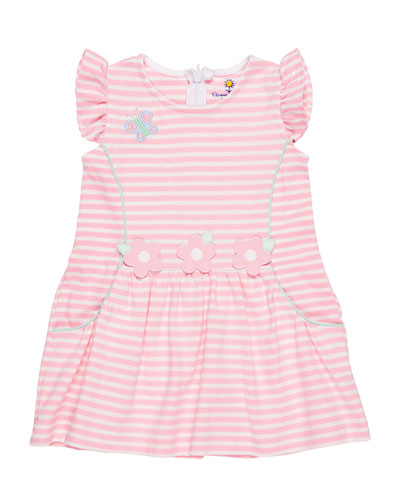 Stripe Knit Butterfly & Flower Dress, Size 2-4
