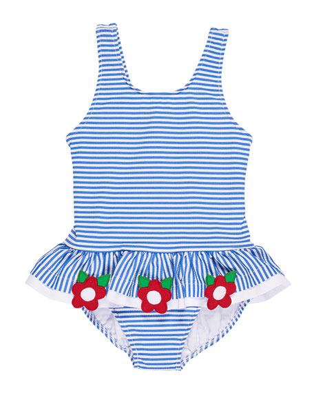 Florence Eiseman Stripe Seersucker Ruffle One-Piece Swimsuit w/