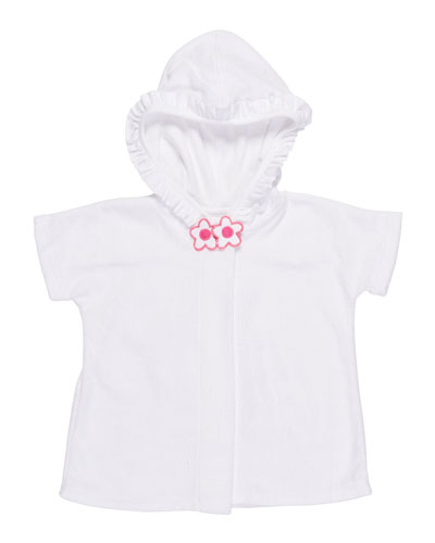 Knitted Terry Cloth Hooded Swim Coverup, White/Pink, Size 2-4