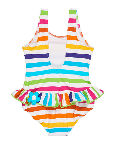 Stripe Ruffle One-Piece Swimsuit w/ Flower Trim, Size 2-6X