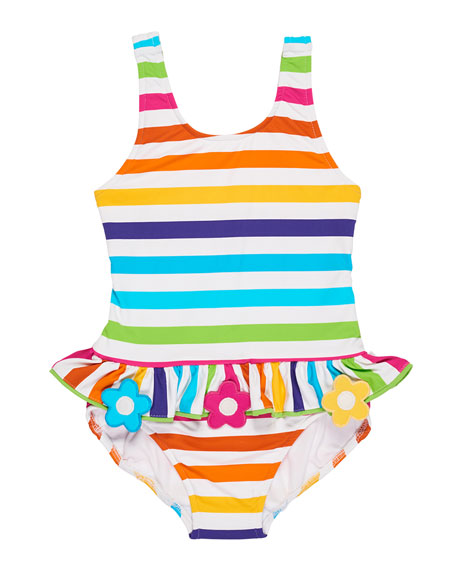 Florence Eiseman Stripe Ruffle One-Piece Swimsuit w/ Flower