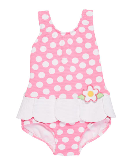 Florence Eiseman Petal-Skirt Polka-Dot One-Piece Swimsuit, Size