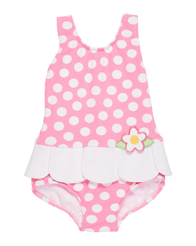 Petal-Skirt Polka-Dot One-Piece Swimsuit, Size 2-4