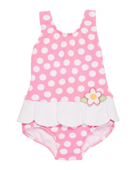 Petal-Skirt Polka-Dot One-Piece Swimsuit, Size 2-4