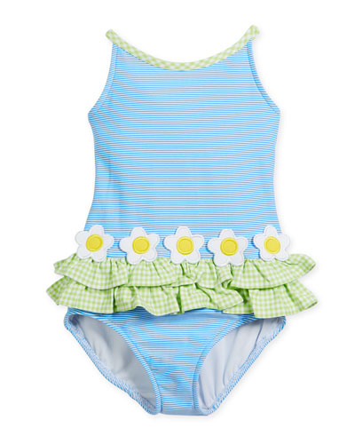 Stripe Tank One-Piece Swimsuit w/ Check Trim, Size 2-6X