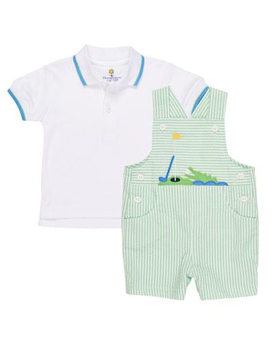 Seersucker Golf & Gator Overalls w/ Polo Shirt, Size 3-24 Months