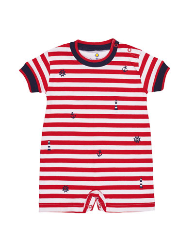 Stripe Knit Playsuit w/ Nautical Embroidery, Size 3-24 Months