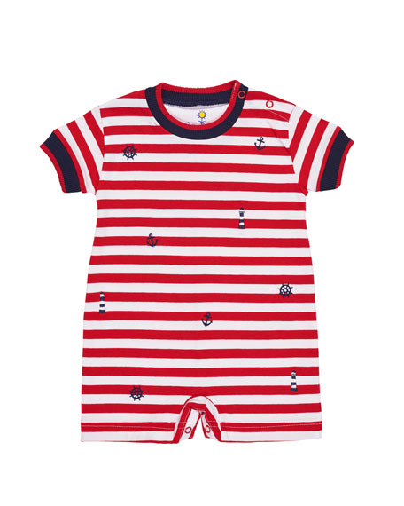 Florence Eiseman Stripe Knit Playsuit w/ Nautical Embroidery,