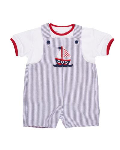 Seersucker Reversible Shortall w/ T-Shirt, Size 3-24 Months