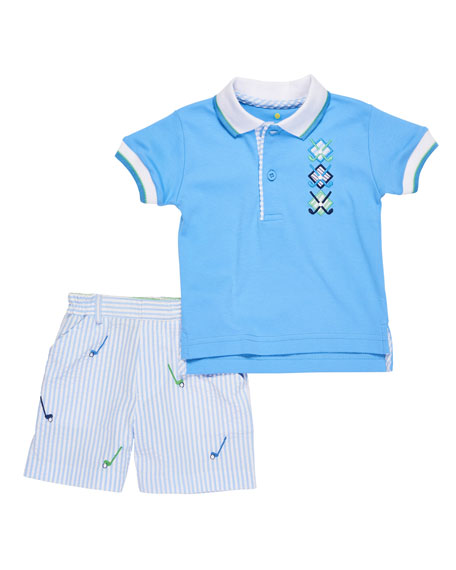 Golf Polo & Seersucker Shorts, Size 12-24 Months