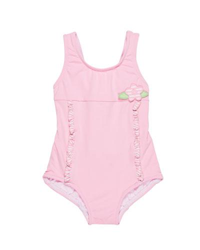 Solid One-Piece Swimsuit w/ Stripe Ruffle Trim, Size 6-24 Months