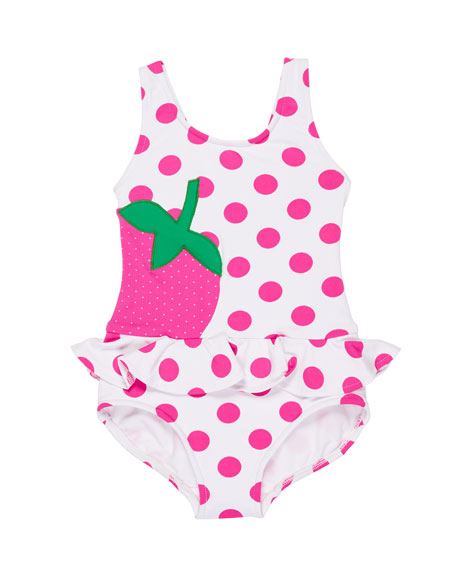 Florence Eiseman Polka-Dot Ruffle Strawberry One-Piece Swimsuit,