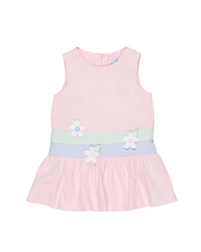 Colorblock Fine-Wale Pique Dress w/ Flower Trim, Size 2-4