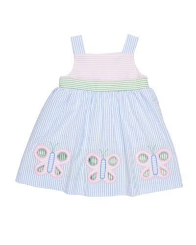 Multi-Stripe Seersucker Butterfly Dress, Size 2-4