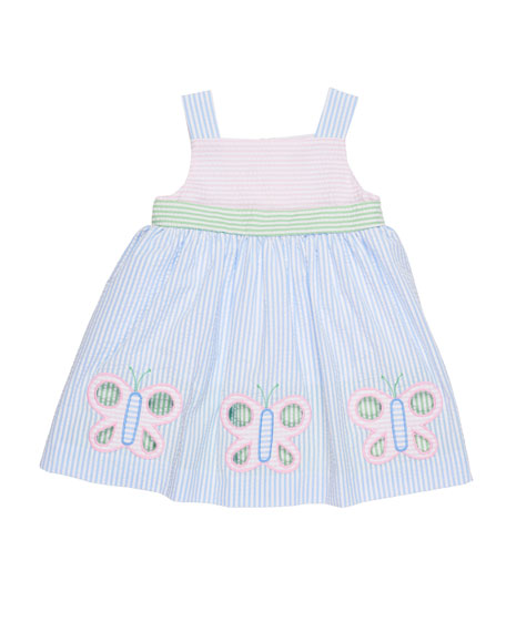 Multi-Stripe Seersucker Butterfly Dress, Size 2-4